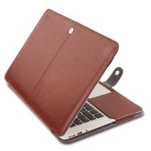 MOSISO MacBook Air 13 inch Case, Premium PU Leather Book Folio Protective Stand Cover Sleeve Compatible with MacBook Air 13 inch A1466 / A1369 (Older Version Release 2010-2017), Brown