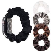Whaline Scrunchie Watch Band, Compatible with iWatch Series 1/2/3/4/5, with 4 Pieces Velvet Scrunchies Hair Elastic Ties Ponytail Holder for Women Girls (Black, 38/40mm)