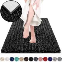 DEARTOWN Non-Slip Shaggy Bathroom Rug,Soft Microfibers Bath Mat with Water Absorbent, Machine Washable (27.5x47 Inches, Black)