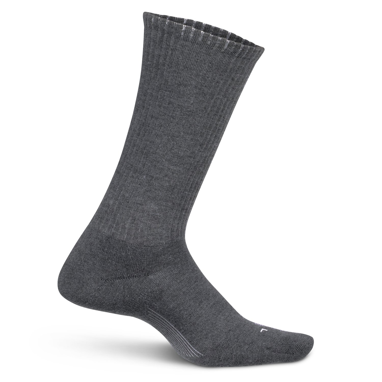 Feetures Mens Everyday Cushion Crew Sock (Medium, Grey)
