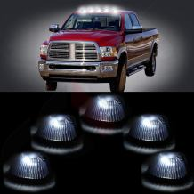 cciyu Replacement fit for 94-98 for Dodge for Ram 2500 3500 Black Smoked Cab Roof Top Marker Running Lamps w/Xenon White LED Light Bulbs(5 Pcs)