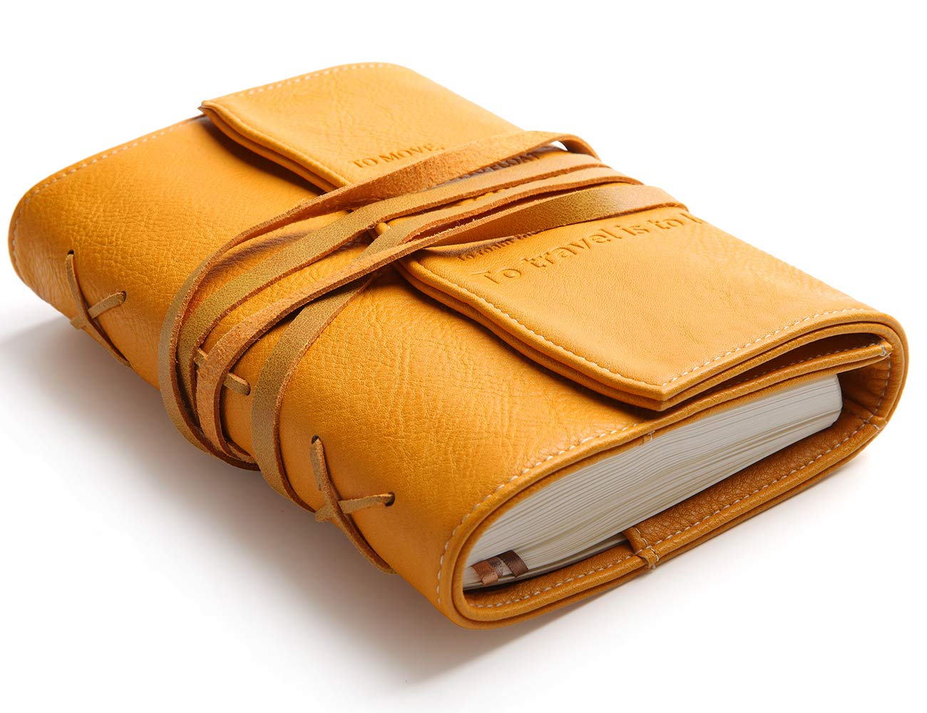Refillable Personal Leather Journal-String Bound Vegan Leather Notebook with Build-in Pen Holder and Lined Diary For Men and Women-Creative Writing Gift for Writers,Teachers,Travellers,Artists