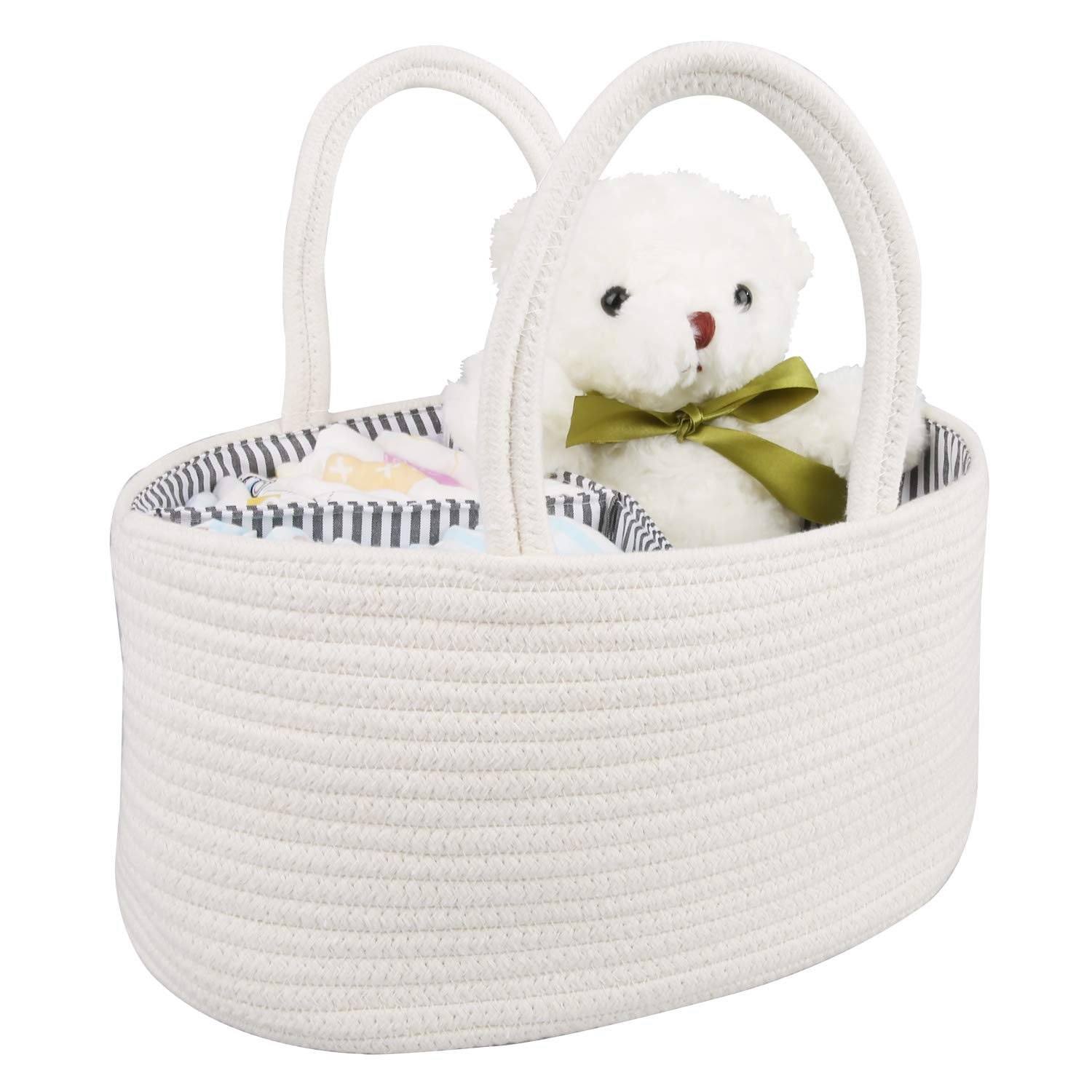 GESUNDHOME Cotton Rope Storage Basket - Stylish Rope Nursery Storage Bin for Changing Table & Car - Portable Carry Tote for Wipes, Diaper, Baby Essentials with Removable Inserts (White)