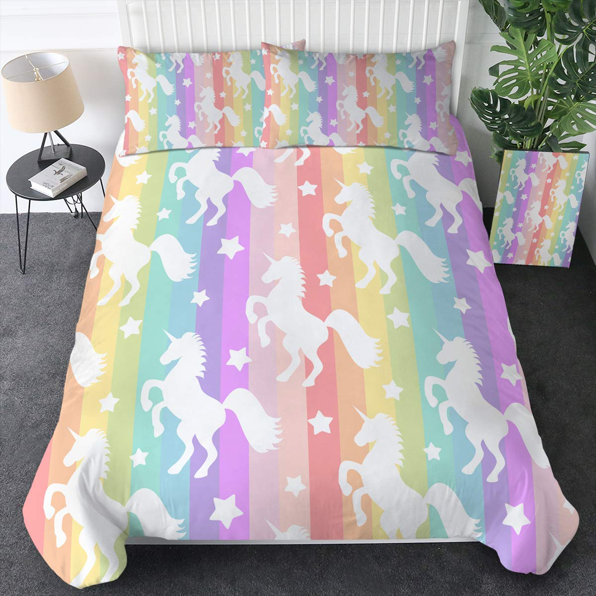 Sleepwish Whimsy Unicorn Gallop Bedding Duvet Cover Sets Pastel Rainbow Stripes Pattern Comforter Cover Magical Horse Bed Set 3 Pieces Kids Unicorn Gifts (Queen)