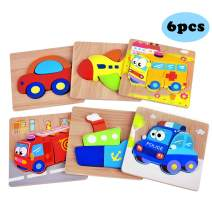 Yostyle Wooden Vehicle Jigsaw Puzzles for Toddlers 1 2 3 Years Old, Boys &Girls Educational Toys Gift with 6 Traffic Patterns, Bright Vibrant Color Shapes
