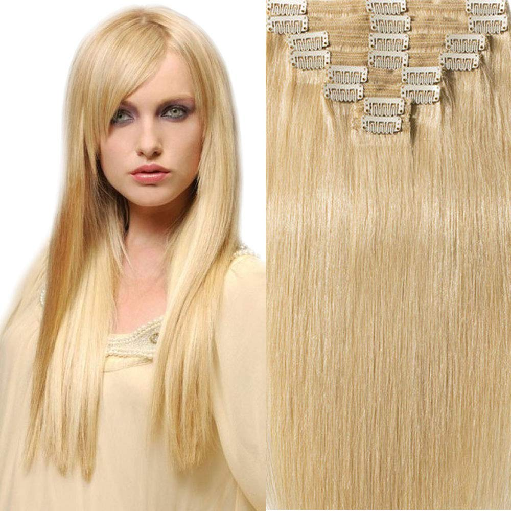 200g Real Triple Weft Extra Thick Clip in 100% Remy Human Hair Extensions Full Head (14 inch 200G 7.05Oz #613 Bleach Blonde) 8 Pcs Set Grade 10A Natural Hair Pieces Long Straight for Women