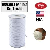"1/4"" Wide 100Yards Elastic Bands for Sewing Heavy Stretch Knit Elastic Band,Elastic Cord, Elastic Rope, Elastic for Sewing Crafts DIY, Mask, Bedspread, Cuff(White)"