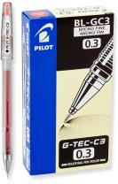 PILOT G-Tec-C Gel Ink Rolling Ball Pens, Micro Fine Point (0.3mm), Red Ink, 12 Count (35490)