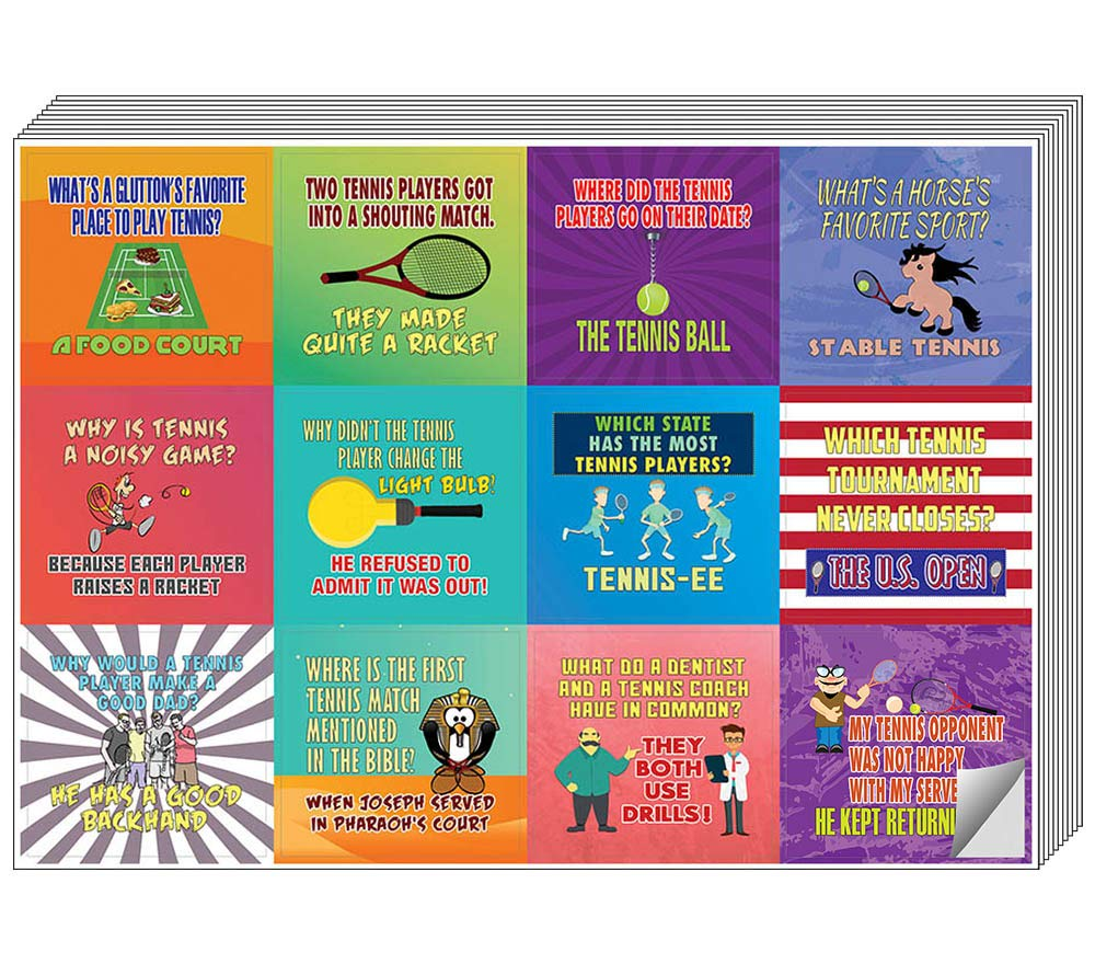 """Creanoso Playing Tennis Funny Sports Jokes Stickers (5-Sheet) – Total 60 pcs (5 X 12pcs) Individual Small Size 2.1"""" x 2"""", Unique Personalized Designs, Flat Surface DIY Decoration Art Decal for Kids"""