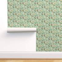 Removable Water-Activated Wallpaper - Dragonfly Garden Botanical Vintage Antique Floral Floral by Thistleandfox - 24in x 72in Smooth Textured Water-Activated Wallpaper Roll
