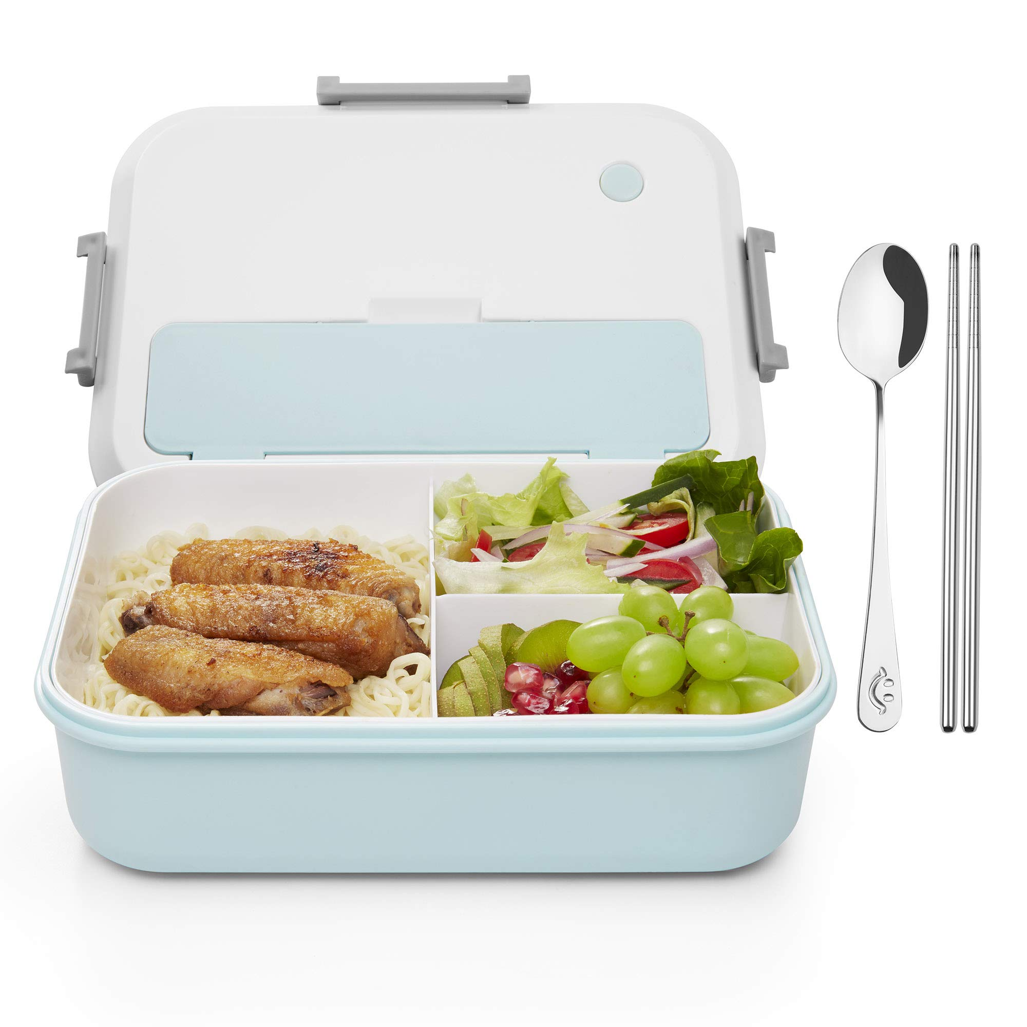Bento Box for Kids & Adults   Reusable 3 Compartment Lunch Containers   Food Storage Container Boxes with Utensil   ECO-Safe & Healthy (Blue)