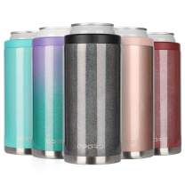 Opard Skinny Can Cooler for 12 oz Slim Beer & Hard Seltzer, Double-walled Stainless Steel Vacuum Insulated Cankeeper - Black