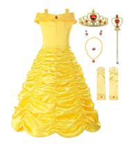 ReliBeauty Little Girls Layered Princess Costume Dress up with Accessories, Yellow