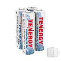 Tenergy 4 Pack Premium Rechargeable AA Batteries, High Capacity 2500mAh NiMH AA Battery, AA Cell Battery with AA Holder