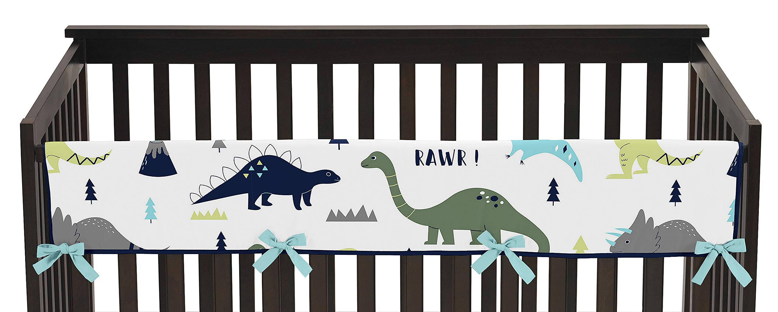 Blue and Green Modern Dinosaur Long Front Rail Guard Baby Teething Cover Crib Protector Wrap