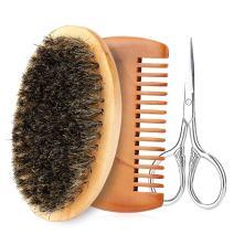 Men Beard Care Kit Beard Grooming Kit Beard Brush, Beard Comb and Professional Mustache Scissors Gift Set Cleaning Grooming Tool (#3)