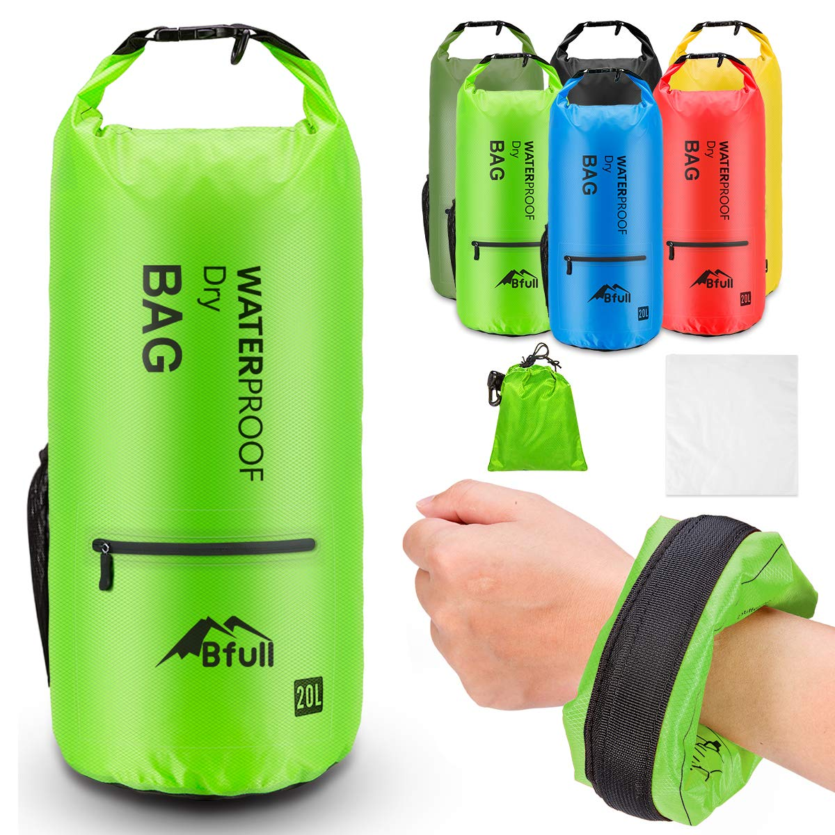 BFULL Floating Waterproof Dry Bag Backpack 5L/10L/20L/30L/40L Lightweight Marine Waterproof Bag Roll Top Sack Keeps Gear Dry for Beach, Swimming, Boating, Kayaking, Surfing and Outdoor Activities