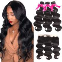 Brazilian Body Wave Human Hair Bundles with Frontal 8A Unprocessed 134 Ear to Ear Lace Frontal Closure with Bundles Natural Color (12/14/16+10Frontal)