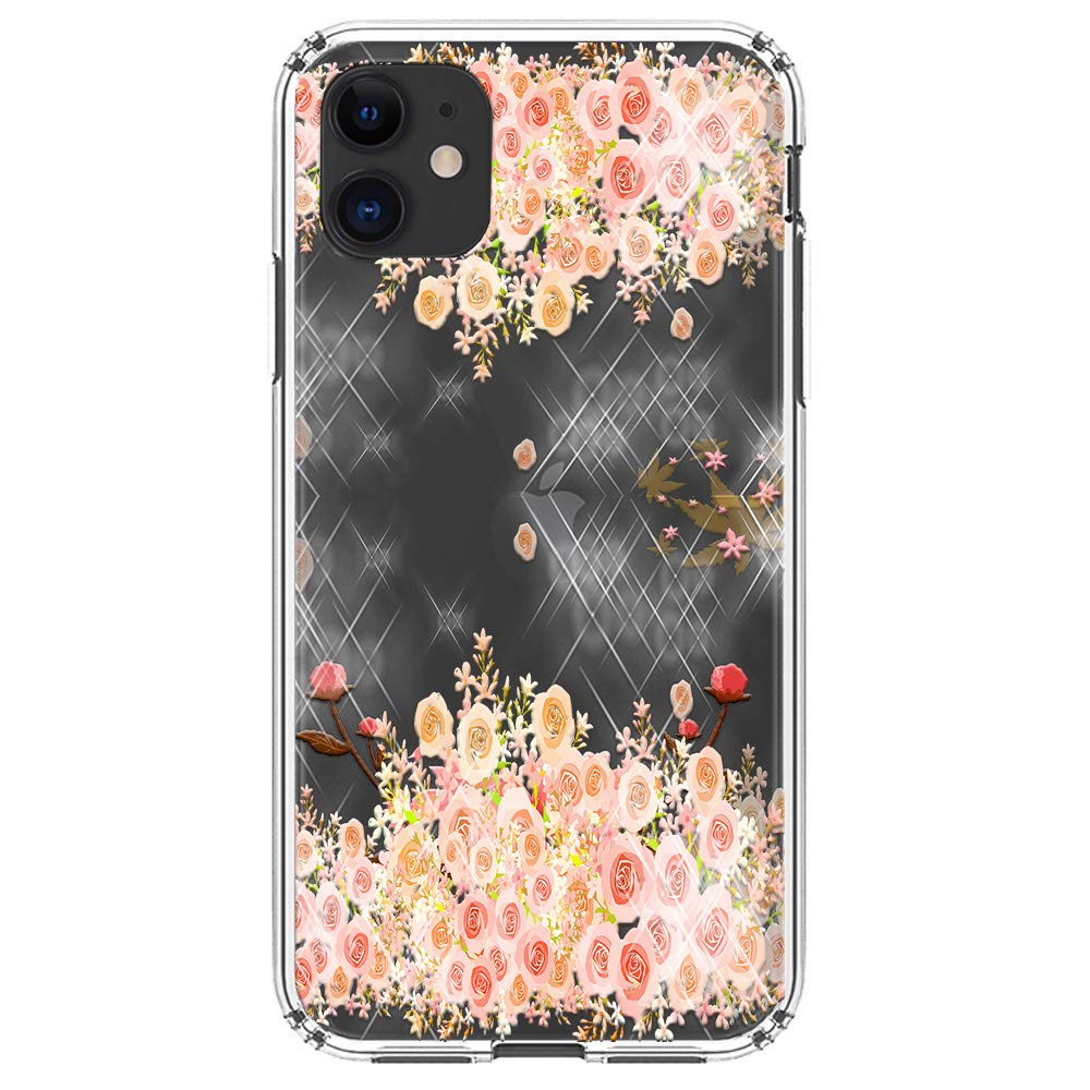 """HUIYCUU Compatible with iPhone 11 Case 6.1"""", Shockproof Anti-Slip Cute Glitter Clear Design Crystal Pattern Funny Slim Fit Soft Bumper Girl Women Cover Case for iPhone 11 XI, Rose Gold Flower"""