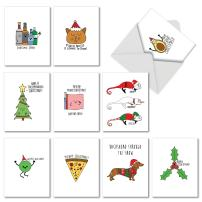 10 Assorted 'Fun Christmas Puns' Christmas Cards with Envelopes 4 x 5.12 inch, Boxed Season's Greetings Cards, Funny Illustrations Featuring Christmas Puns and Festive Sayings M5079XSG-B1x10