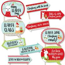 Big Dot of Happiness Funny Fa La Llama - Christmas and Holiday Party Photo Booth Props Kit - 10 Piece