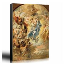 wall26 - Oil Painting of The Virgin as The Woman of The Apocalypse by Peter Paul Rubens in 1624 - Baroque Style-Angels Catholic - Canvas Art Home Decor - 24x36 inches