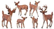Flormoon Animal Figures - 6 Pieces Deer Figurines Woodland Animals Figurines for Christmas Decoration - Realistic, Solid, Durable - Early Educational Birthday Party Favour Cupcake Topper Gift for Kids