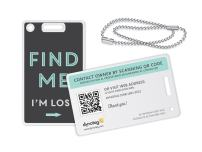 Dynotag Web Enabled Smart Fashion Luggage ID Tags, with DynoIQ & Lifetime Recovery Service. 2 Identical Tags+Chains (Find Me!)