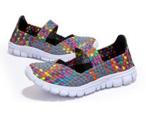 MAKEGSI Handmade Women's Breathable Slip-On Walking Shoes Woven Stretch Mesh