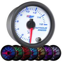 "GlowShift White 7 Color 1,600 PSI Nitrous NOS Pressure Gauge Kit - Includes Electronic Sensor - White Dial - Clear Lens - 2-1/16"" 52mm"