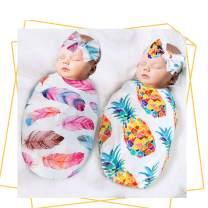 QTECLOR Newborn Receiving Blanket Headband Set - Unisex Soft Baby Swaddle Girl Boy Gifts (Feather+Pinapple)