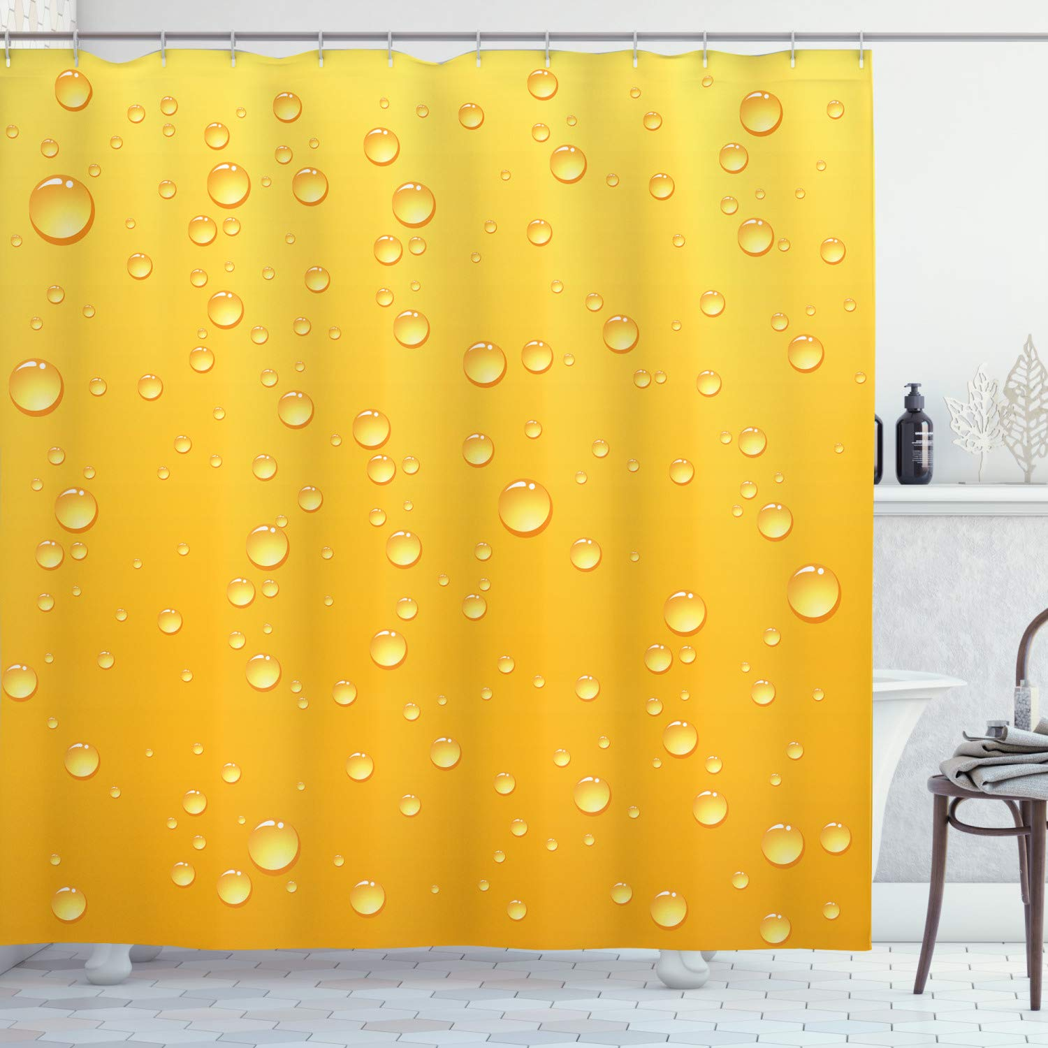 """Ambesonne Yellow Shower Curtain, Yellow Ombre Background Like Beer in a Glass with Water Drops Graphic Artwork Prints, Cloth Fabric Bathroom Decor Set with Hooks, 84"""" Long Extra, Yellow"""