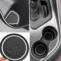 Auovo Non-SlipAnti-dustInteriorCustomFitCup DoorCenterConsoleLinerAccessoriesfor2015 2016 2017 2018 2019 2020 Dodge Challenger 11pcs (White)