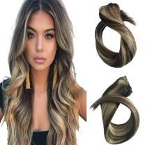 "Clip in Human Hair Extensions 70grams 20"" Medium Brown to Bleach Blonde Highlights for Beauty - Short Silky Straight 7pcs Real Hair Extensions Clip In Hair Extensions(20 inch #4/613)"