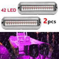 VOFONO 2 X Waterproof Ip68 42 Led Drain Plug Light Underwater Boat Lights Marine Yacht Led Drain Plug Light for Fishing Swimming Divinng