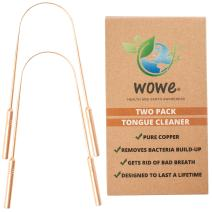 Wowe Lifestyle Tongue Scraper Cleaner - Eco-Friendly Metal - Get Rid of Bacteria, Bad Breath, and Halitosis - Pack of 2
