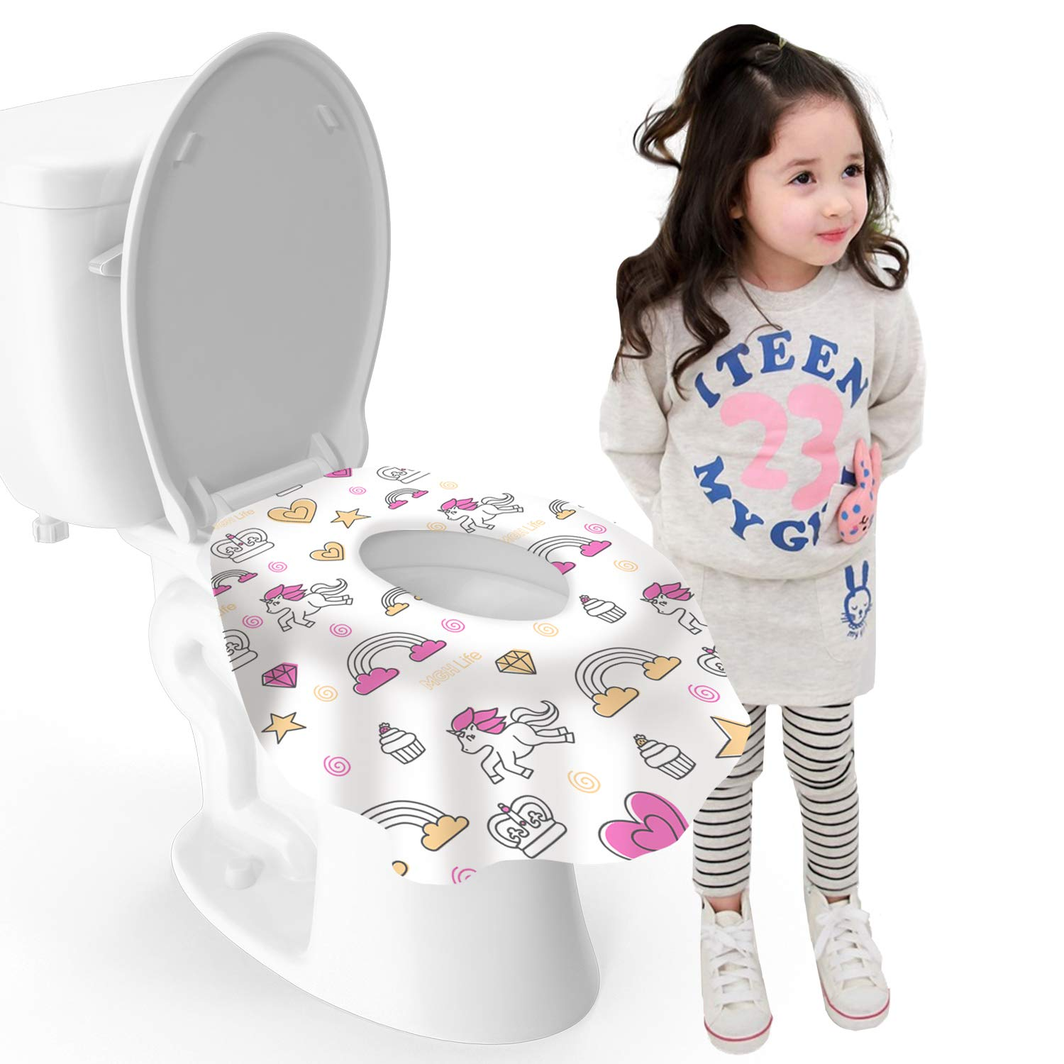 MGH Life XL Large Disposable Travel Toilet Seat Covers - Waterproof, Individually Wrapped Portable Potty Cover That Completely Covers Any Toilet for Kids & Adult (Unicorn Pink/Yellow, Pack of 20)
