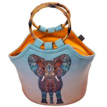 Art of Lunch by Artovida Neoprene Lunch Bag Purse Artist Monika Strigel (Germany) and Art of Liv'n Have Partnered to Donate $.40 of Every Sale to The David Sheldrick Wildlife Trust - Elephant