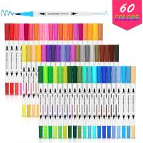 Dual Tip Brush Pens, AGPTEK 60 Colors Dual Tip Brush Marker Pens with 0.4 Fine Tip, Non-Toxic, Odorless & Blendable, Perfect for Illustration, Calligraphy, Sketch Book & Hand Lettering