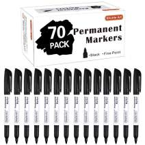 Permanent Markers,Shuttle Art 70 Pack Black Permanent Marker set,Fine Point, Works on Plastic,Wood,Stone,Metal and Glass for Doodling, Marking