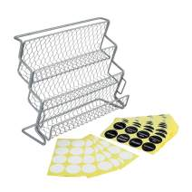 TQVAI 3 Tier Counter Spice Jars Rack Organizer with 340 Pre-printed Labels Stickers & 40 Blank Labels, Dual Use - Stand or Lay Down, Fit for Kitchen Countertop, Under Cabinet, Cupboard, Silver