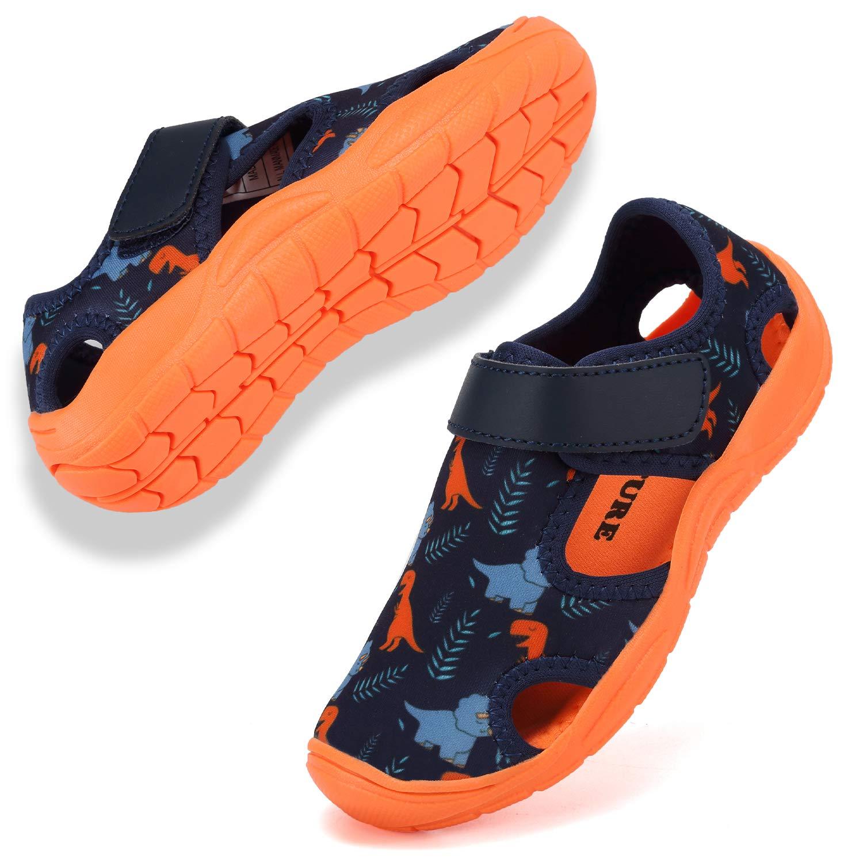 FANTURE Toddler Water Shoes Boys Girls Quick-Dry Aqua Socks Lightweight Closed-Toe Outdoor Sport Sandal(Toddler/Little Kid)