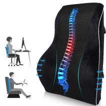 Lumbar Support Pillow for Office Chair, Memory Foam Back Cushion Orthopedic Backrest, Car Seat Back Pillows for Back Pain Relief, Ideal Back Pillow for Computer/Desk Chair, Car Seat, Wheelchair, etc.