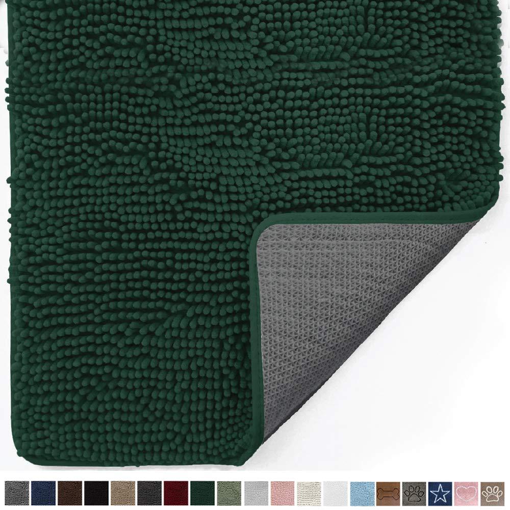 Gorilla Grip Original Indoor Durable Chenille Doormat, Large, 48x30, Absorbent, Machine Washable Inside Mats, Low-Profile Rug Doormats for Entry, Back Door, Mud Room, High Traffic Areas, Deep Green