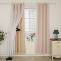 """Hello Laura - Window Curtain 2 Layer Triple Weave Thermal Insulated Blackout Grommet Window Curtain Home Decor Luxury Royal Room Sunshine Block   100% Polyester (Light Beige, 53"""" x 63"""")"""