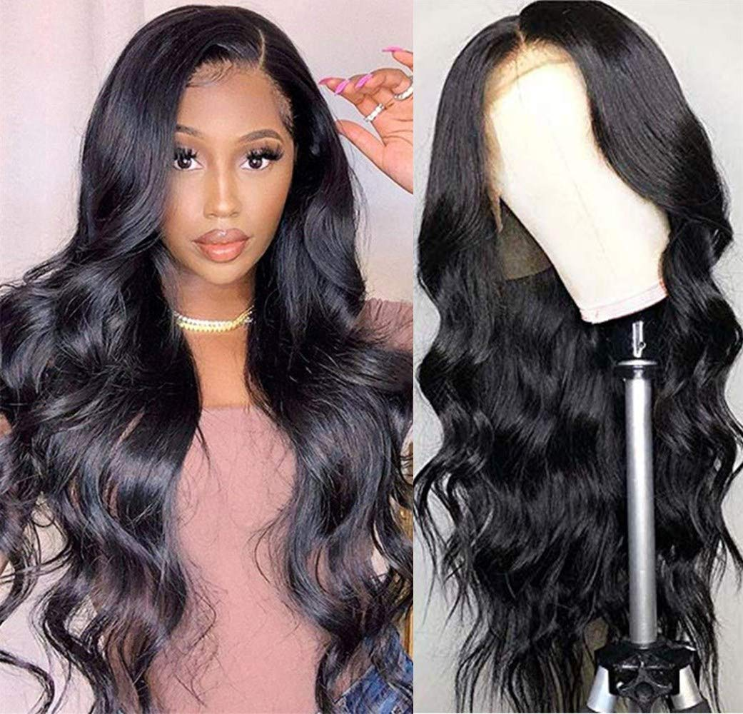 """Luduna Brazilian Body Wave Wigs Natural with Baby Hair 9A 150% Density 100% Uprocessed Brazilian Real Hair Wig Pre-Plucked Glueless Human Hair Lace Front Wigs for Black Women (16"""", Natural Color)"""