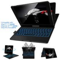 IVSO Keyboard Case for iPad 10.2 2019,iPad Air 10.5 2019, iPad Pro 10.5 2017-Backlit-360 Rotatable Wireless-iPad 7th Generation Case with Keyboard-iPad Air 3rd(360-Backlit-Black)