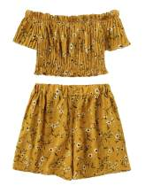 SOLY HUX Women's 2 Piece Floral Print Smocked Crop Top with Shorts Set