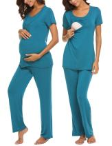 MAXMODA Maternity Pajamas for Hospital Small Blue
