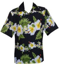 Mens Hawaiian Shirt Hibiscus Flower Print Beach Party Aloha Camp Hawaiian Shirt for Men